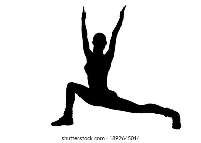 Shadow of active healthy woman practicing yoga on white background