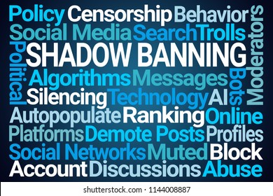 Shadow Banning Word Cloud on Blue Background