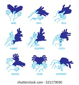 Shadow Hand Puppets Isolated on a White Background for Your Design. Shadow Theater or Shadow Play. Set. Bird, dog, bull, rabbit, squirrel, cock, moose, crab and elephant. Illustration.