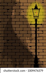 The shadow of Jack the Ripper on an old Victorian wall.