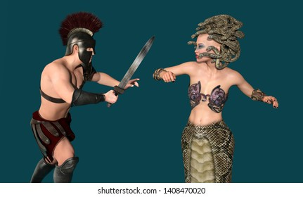 In the shadow kingdom of Hades, Heracles dispels the Medusa with his sword Computer generated 3D illustration