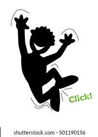 Shadow Man jumping up in the air waving his heads and clicking his heels because he is happy and joyful
