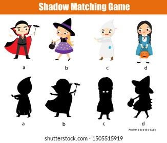 Shadow matching game for children. Find the right shadow for halloween kids. fun activity for kids