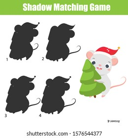 Shadow matching game for children. Find the right shadow for Cartoon mouse. Witner fun theme activity for kids