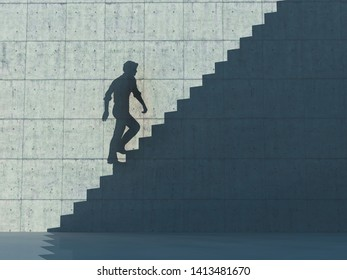 Shadow on concrete wall of a man ascending on stairs. This is a 3d render illustration.