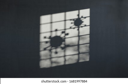 Shadow overlay effect. Soft light and shadows from a caged prison window with corona virus corona covid-19 microbe. Concept of isolation and Quarantine. Realistic 3d render illustration