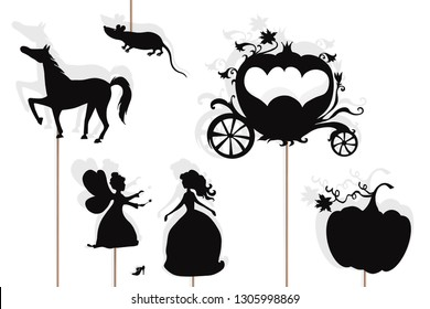 Shadow puppets of Cinderella, fairy godmother, glass slipper, pumpkin, mouse, enchanted carriage and horse, isolated on white background.