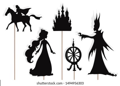 Shadow puppets of Sleeping Beauty, Prince, evil fairy Maleficent, castle and spinning wheel, isolated on white background.