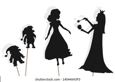Shadow puppets of Snow White, dwarfs and Evil Queen with poisonous apple. Snow White and the Seven Dwarfs storytelling. Isolated on white background.