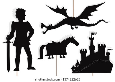 Shadow puppets of valiant knight, flying dragon, castle and knights horse, isolated on white background.