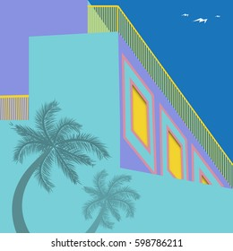 Shadows of palm trees on an art deco style building are featured in a retro  architecture illustration.