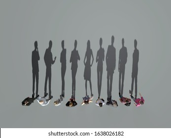 shadows people standing in line, 3d illustration
