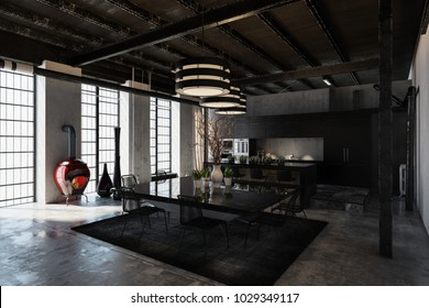 Shadowy black designer industrial loft conversion with a luxury fitted kitchen and dining area under exposed structural elements lit by large bright windows. 3d rendering