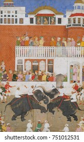 SHAH JAHAN WATCHING AN ELEPHANT FIGHT, by Bulaqi, 1639, Indian, Mughal watercolor painting. Shah Jahan, fifth Mughal Emperor, reigned from 1628-58. The Emperor and his two sons are shown in profile at
