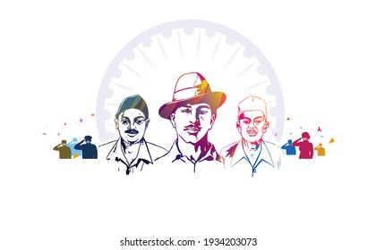 shaheed bhagat singh, sardar bhagat singh martyrs day illustration of Indian people saluting celebrating martyrs day