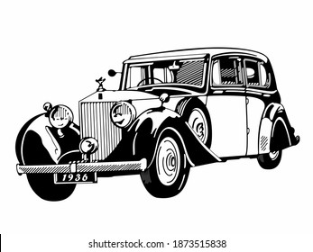SHAKHTY, RUSSIA - DECEMBER 2020. Rolls Royce 25-30 on an abstract background. 1936 - present. Goodwood, West Sussex, England, United Kingdom