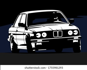 SHAKHTY, RUSSIA - JANUARY 2019. BMW 3 Series E30 monochrome on abstract background. 1982-1994