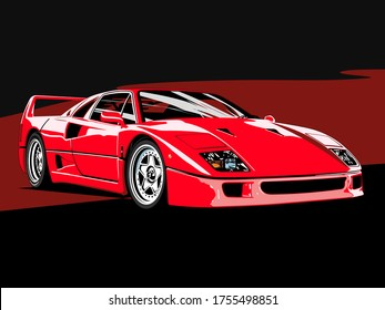 SHAKHTY, RUSSIA - JUNE 2020. Ferrari F40 on an abstract background. Italian supercar Pininfarina design studio. The supercar was produced from 1987 to 1992.