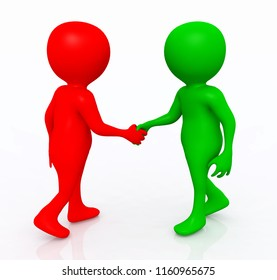 Shaking hands with 3D figures Computer generated 3D illustration