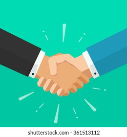 Shaking hands business illustration with abstract rays, symbol of success deal, happy partnership, greeting shake, handshaking agreement flat sign modern design isolated on green background image