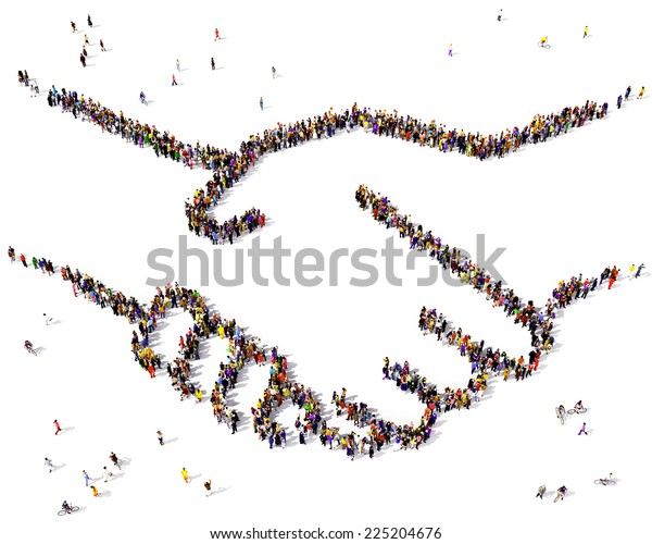 Shaking hands formed out of people seen from above on white background