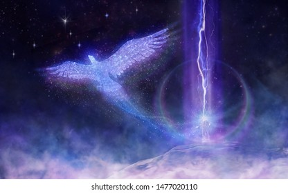 the shaman absorbs the energy of the stars and transforms it to travel on a magic rook on the spirit bird