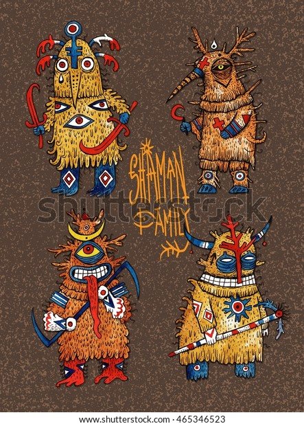 Shaman Family Set Psychedelic Characters Mystic Stock