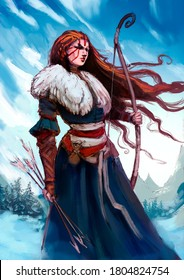 A shaman girl with long hair fluttering in the wind, in one hand she has a long bow, in the other a srel. Against the background of snowy mountains. 2D illustration