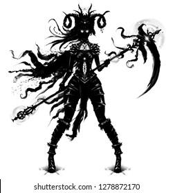 Shaman with a huge magic scythe