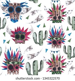 Shaman masks. Seamless watercolor pattern