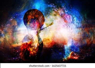 shamanic girl with frame drum on abstract structured space background.