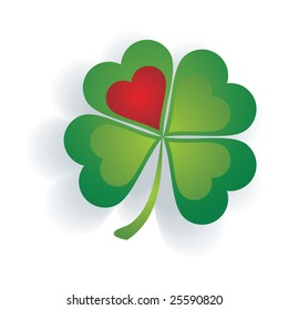 Shamrock with a heart isolated