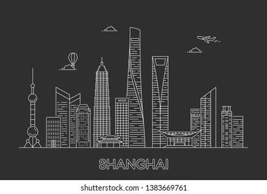 Shanghai city skyline. Line art illustration