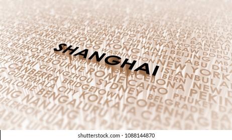 Shanghai lettering, 3d illustration of world's cities.