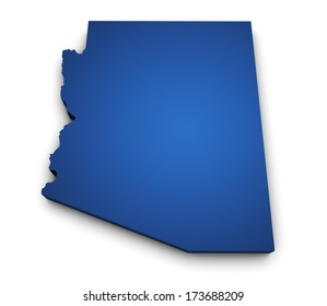 Shape 3d of Arizona State map colored in blue and isolated on white background.