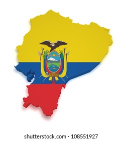 Shape 3d of Ecuadorian flag and map isolated on white background.