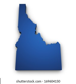 Shape 3d of Idaho map colored in blue and isolated on white background.