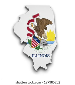Shape 3d of Illinois state map with flag isolated on white background.