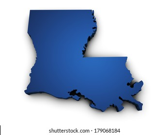 Shape 3d of Louisiana State map colored in blue and isolated on white background.