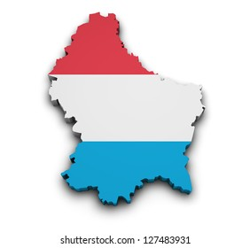 Shape 3d of Luxembourg map with flag isolated on white background.