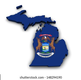 Shape 3d of Michigan state map with flag isolated on white background.