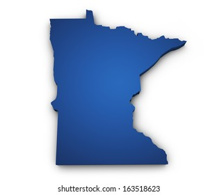 Shape 3d of Minnesota map colored in blue and isolated on white background.