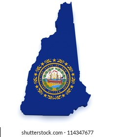 Shape 3d of New Hampshire map with flag isolated on white background.