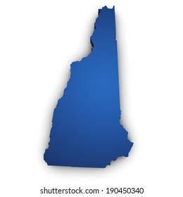 Shape 3d of New Hampshire State map colored in blue and isolated on white background.