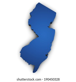 Shape 3d of New Jersey State map colored in blue and isolated on white background.