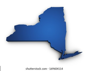 Shape 3d of New York State map colored in blue and isolated on white background.