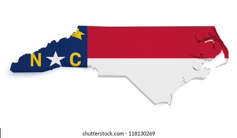 Shape 3d of North Carolina map with flag isolated on white background.