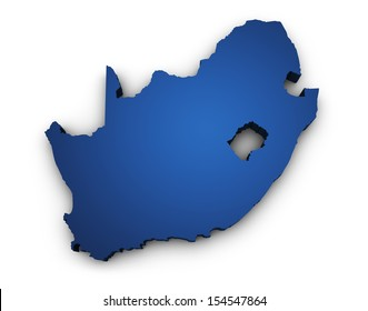 Shape 3d of South Africa map colored in blue and isolated on white background.