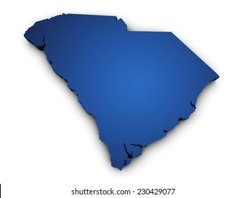 Shape 3d of South Carolina state map colored in blue and isolated on white background.