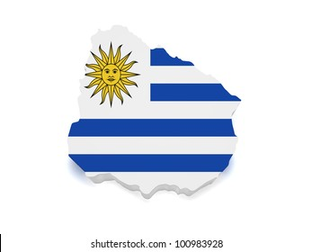 Shape 3d of Uruguayan flag and map isolated on white background.